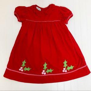 Christmas Smocked Corduroy Dress Holly Size 4T